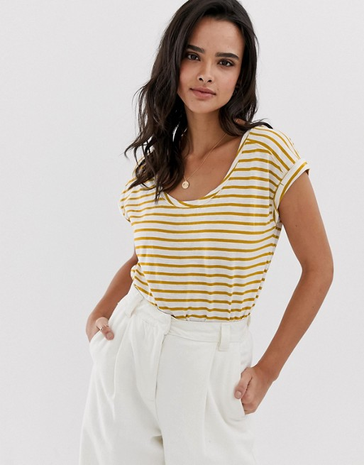 Image 1 of Esprit stripe crew neck t-shirt with turn up sleeve yellow