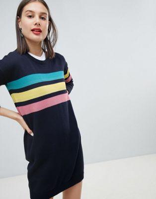 Esprit - Trui-jurk met 3 regenboogstrepen