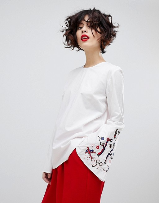 Essentiel Antwerp Paradise Long Sleeved Embroidered Blouse