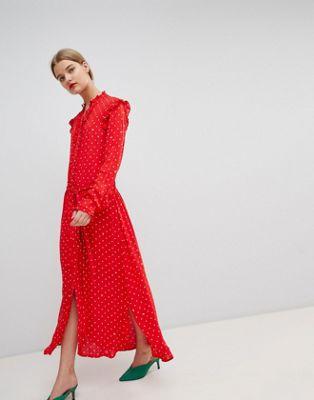 Essentiel Antwerp Ruffle Midi Dress in Polka Dot