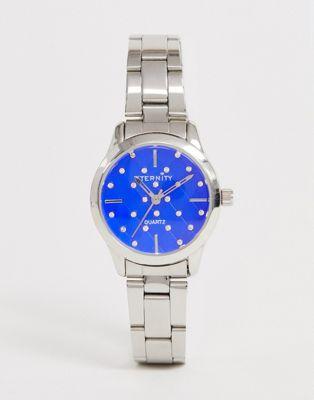 Eternity – Mit Swarovski-Schucksteinen verzierte Damen-Armbanduhr in Silber