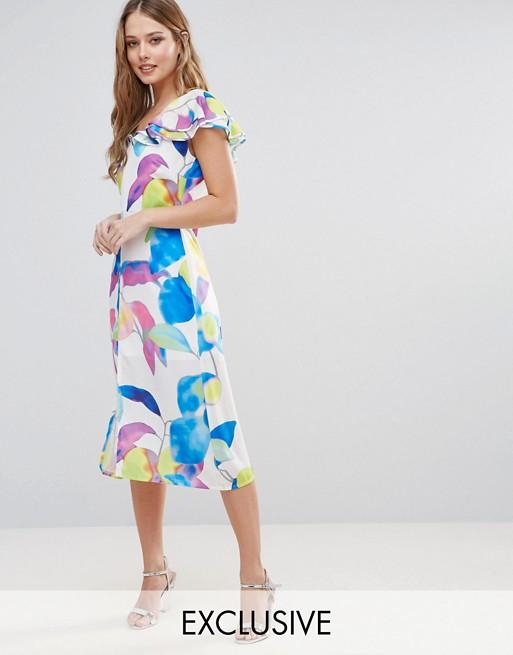 Image 1 of Every Cloud Electric Print Ruffle Midi Dress