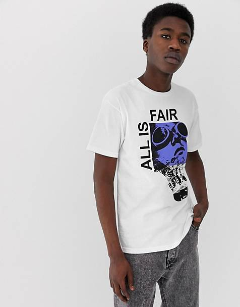 Fairplay – All Is Fair – Weißes T-Shirt mit Print auf der Brust