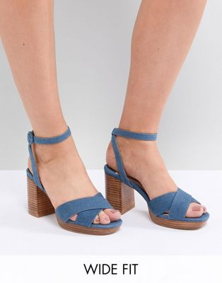 Image 1 of Faith Wide Fit Denim Stacked Heeled Sandals