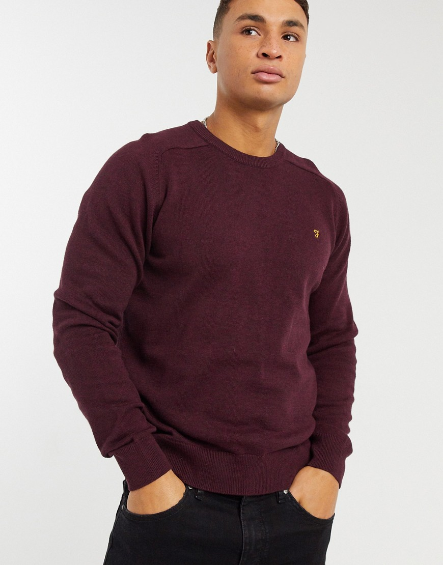 Addison crew knit sweater in burgundy-Red