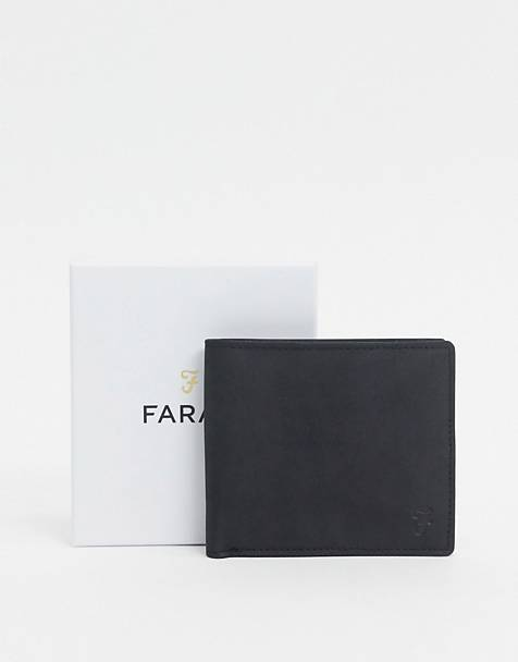 Farah bi-fold wallet in black leather