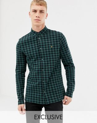 Image 1 of Farah Bobby slim fit checked jersey shirt in green