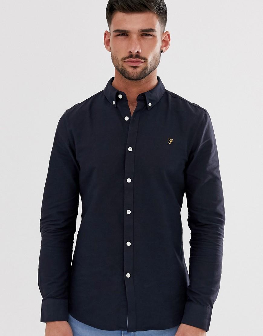 Brewer slim fit oxford shirt in navy