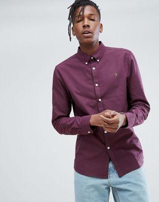 Farah Brewer Slim Fit Oxford Shirt In Purple