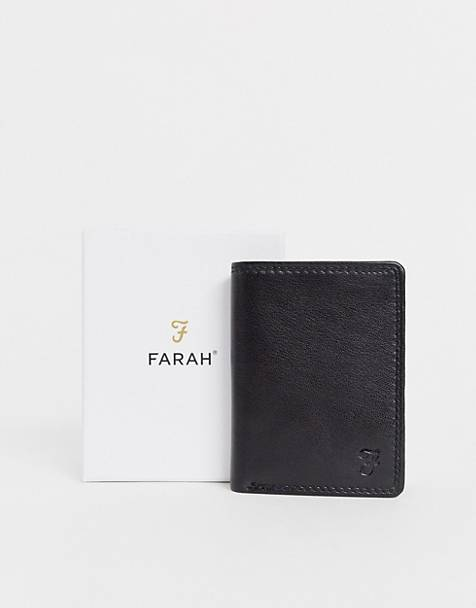 Farah cody roma tri fold with embossed f in black
