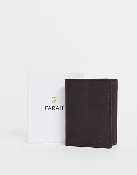 Farah cody roma tri fold with embossed fin brown