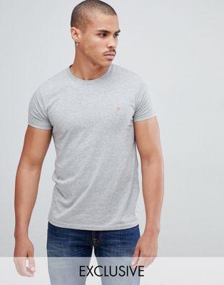 Farah Farris slim fit logo t-shirt in gray Exclusive at ASOS