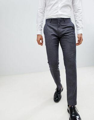Farah - Geruite skinny broek in marineblauw