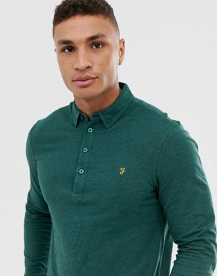 Farah Merriweather long sleeve polo in green