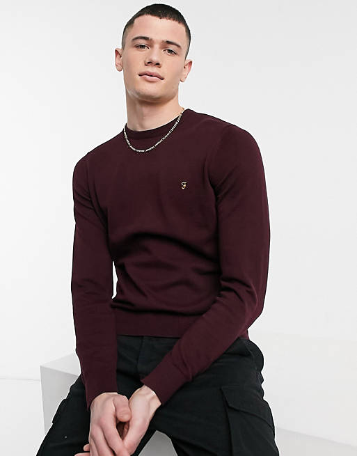 Farah Mullen cotton jumper in burgundy