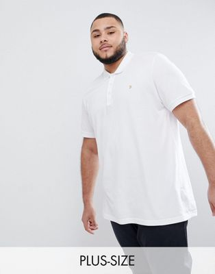 Farah PLUS Blaney Slim Fit Pique Polo in White