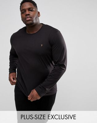 Farah PLUS Farris Slim Fit Long Sleeve T-Shirt in Black