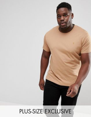 Farah PLUS Farris Slim Fit T-Shirt in Brown