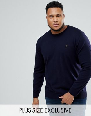 Farah PLUS Mullen Merino Jumper in Navy