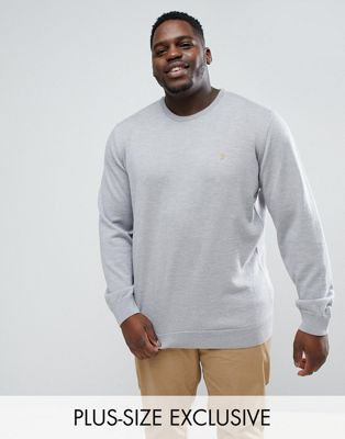 Farah PLUS Mullen Slim Fit Merino Jumper in Light Grey