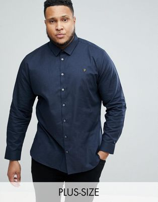 Farah PLUS Slim Shirt In Hopsack