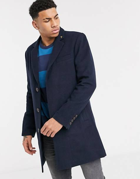 Farah Portobello single breast overcoat in navy