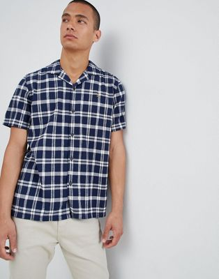 Farah Prestwich Check Revere Collar Short Sleeve Shirt in Navy