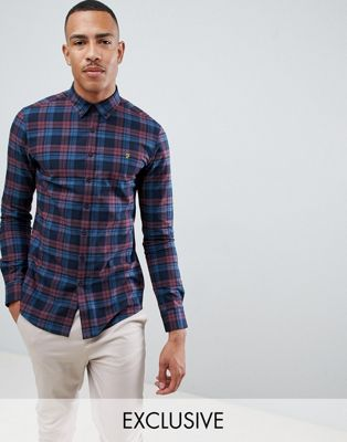 Farah Radley slim fit check shirt in red