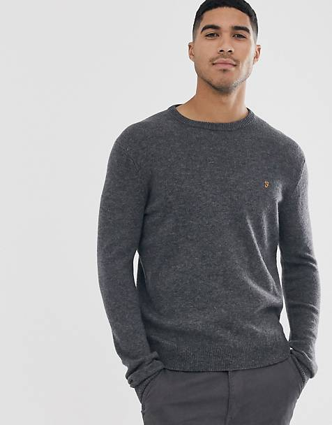 Farah Rosecroft wool crew neck sweater in gray