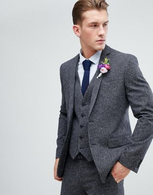 Farah Skinny Wedding Suit Jacket In Charcoal Fleck