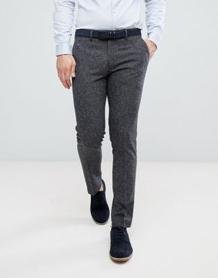 Farah Skinny Wedding Suit Trousers In Charcoal Fleck