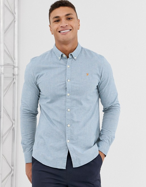 Image 1 of Farah Steen slim fit textured shirt in blue