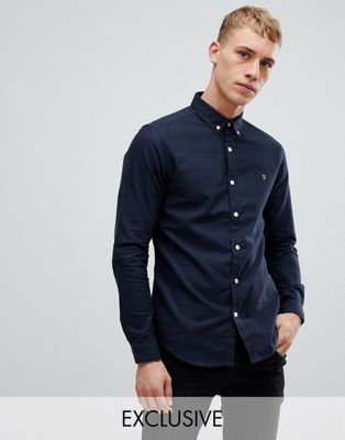 Farah Stretch Skinny Fit Buttondown Oxford Shirt in Navy