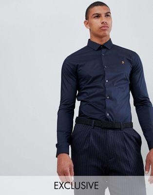 Farah - Swinton - Camicia elegante skinny in popeline elasticizzato blu navy