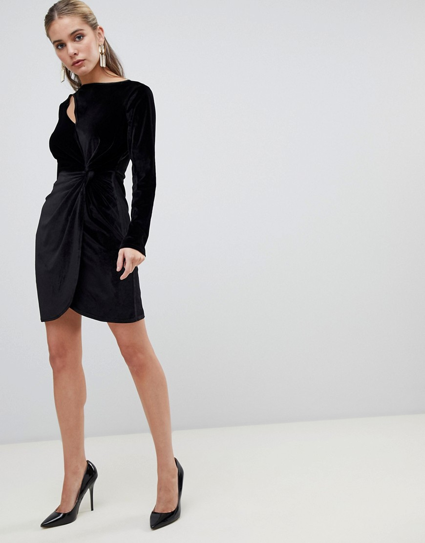 Fashion Union Bodycon Dress With Cut Out In Velvet by Fashion Union