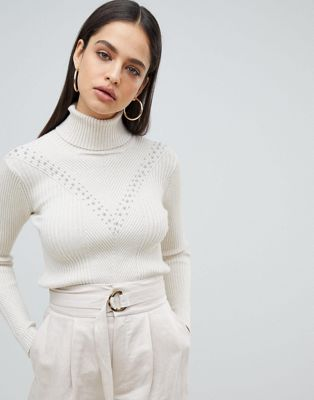 Fashion Union High Neck Jumper In Textured Knit