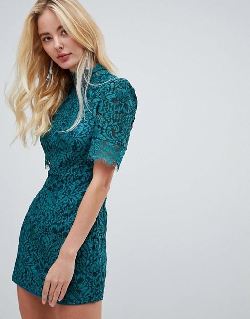 Image 1 of Fashion Union high neck lace dress
