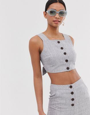 Fashion Union – Krótki top zapinany na guziki z przodu – część zestawu