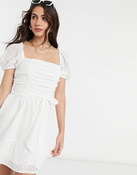 Fashion Union - Minikjole med firkantet hals i broderie anglaise