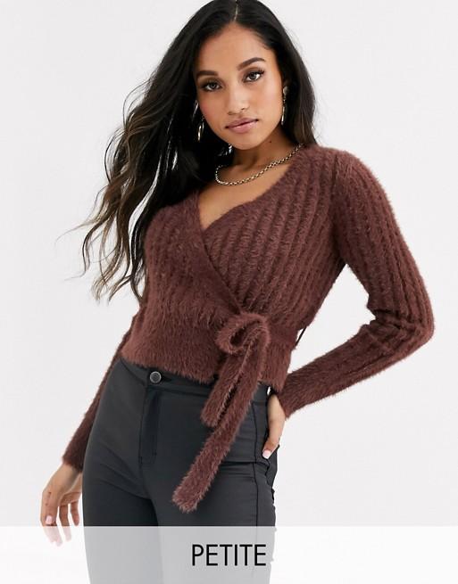 Fashion Union Petite fluffy knit fitted cardigan