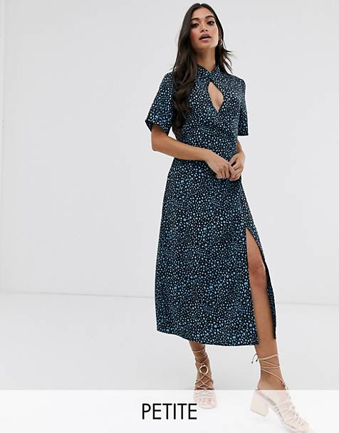 Fashion Union Petite high neck midi shift dress with key hole detail in dalmation satin