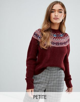 Fashion Union Petite Jumper With Fairisle Placement