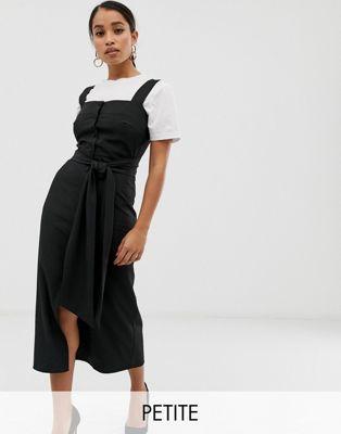 Bild 1 av Fashion Union Petite – Midiklänning med fyrkantig halsringning, knappar framtill och knytband i midjan