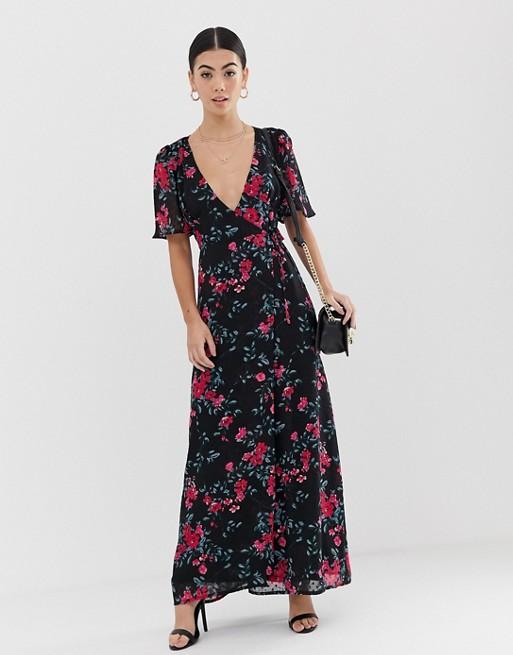 Fashion Union Petite – Sukienka maxi z drobnym kwiatowym wzorem