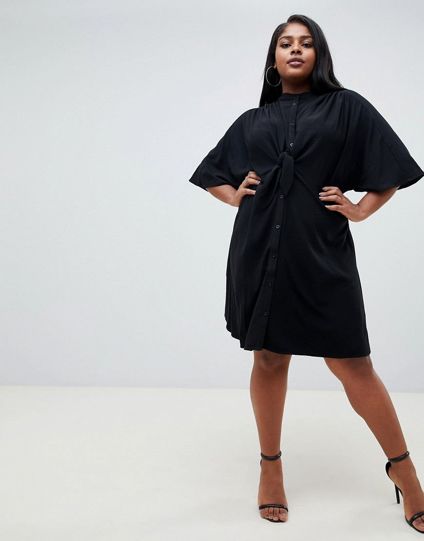Fashion Union Plus – Hemdblusenkleid Mit Bindebändern Vorn by Asos