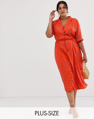 Fashion Union Plus midi fitted shirt dress in floral