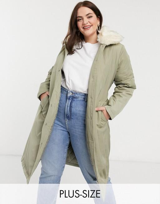 Fashion Union Plus – Płaszcz o wydłużonym fasonie z paskiem i wykończeniem ze sztucznego futra