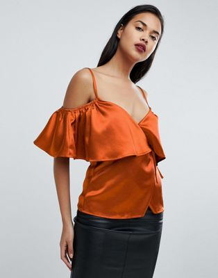 Image 1 of Fashion Union Satin Cold Shoulder Cami Wrap Top
