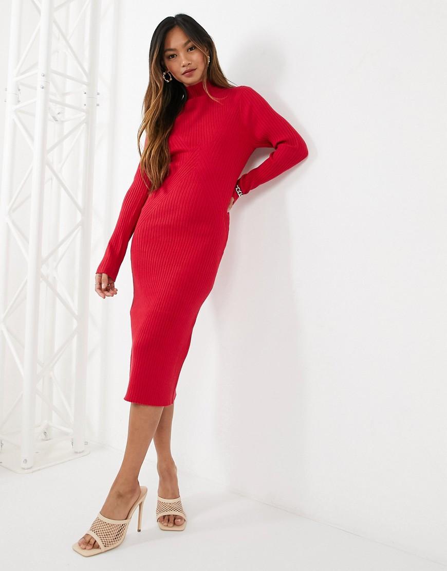 Fashion Union - Strikket midikjole med udskæring på ryggen-Rød