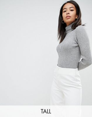 Fashion Union Tall High Neck Jumper In Textured Knit